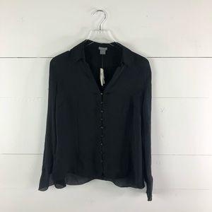 NWT Ann Taylor Silk Button Down Blouse Size 14